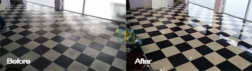 black and white marble floor cleaning and sealing
