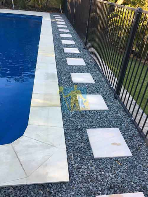 cleaning outdoor tiles around pool