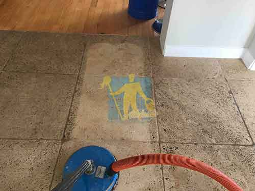 indoor travertine tile floor cleaning before and after