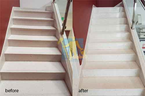 before and after cleaning sandstone stairs