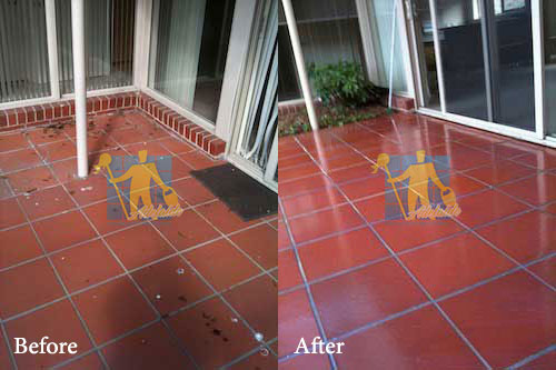 before and after cleaning terracotta floor