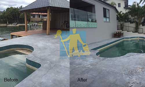 before and after repairing outdoor travetinw tiles around pool