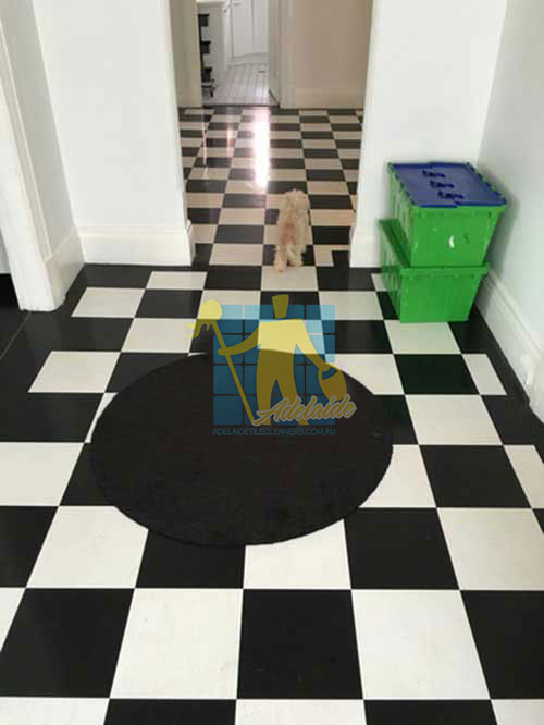 Playford black and white marble floor after cleaning