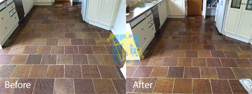 before and after slate floors sealing with a topical sealer