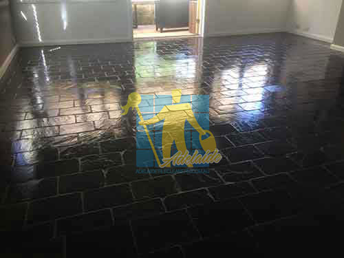 black slate floor after cleaning