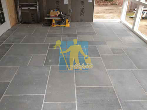 West Torrens bluestone tiles contemporary irregular shape white grout indoor unfurnished