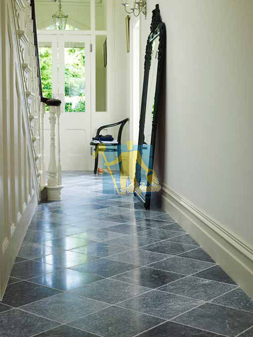 bluestone tumbled tile indoor hallway white grout