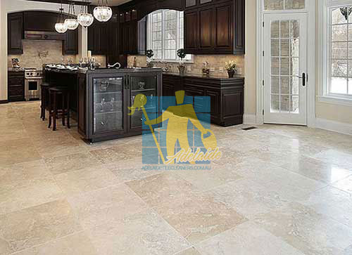 honed and polished travertine tile floor