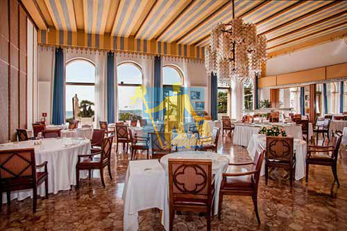 restaurant with marble floor