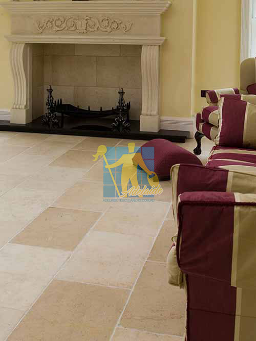 marble tile tumbled acru white grout living room