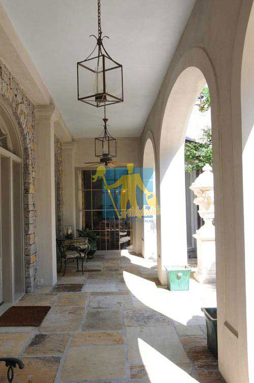 stone tiles outdoors entrance colourful wide grout lines Mediterranean porch home