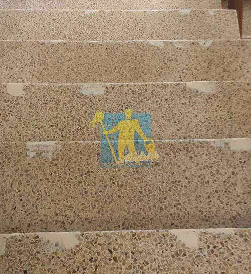 Terrazzo stairs being repaired
