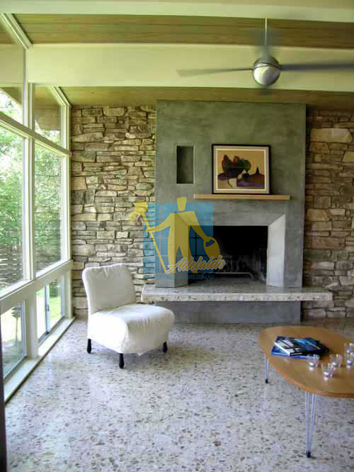 terrazzo tiles polished light color modern living room