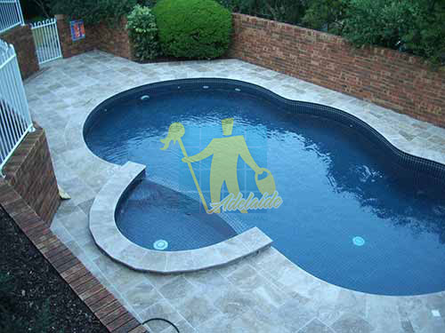 outdoor pool travertine tiles lunar cleaning