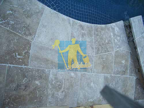 outdoor pool travertine tiles lunar sealed