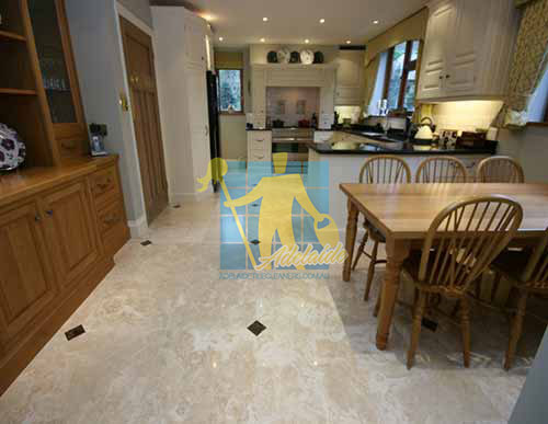 polished travartine stone tile floor kitchen dining sealed